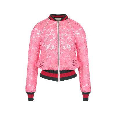 raglan sleeve lace zip-up pink